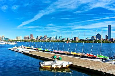 Boston Skyline View From Memorial Drive, Cambridge